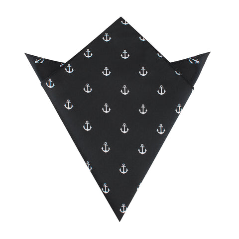 Black Anchor Pocket Square