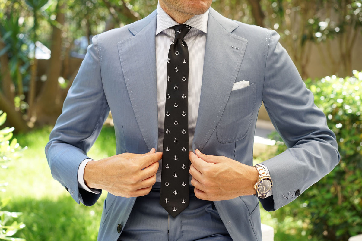 Black Anchor Skinny Tie
