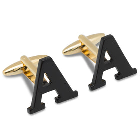 Black And Gold Letter A Cufflinks