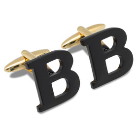 Black And Gold Letter B Cufflinks