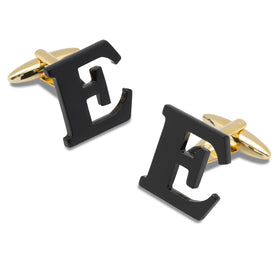 Black And Gold Letter E Cufflinks