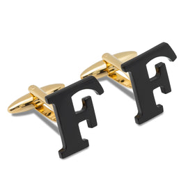 Black And Gold Letter F Cufflinks