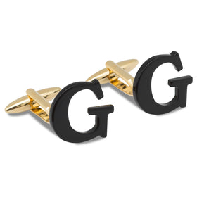 Black And Gold Letter G Cufflinks