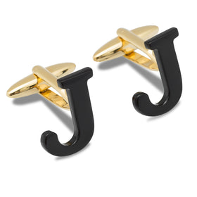 Black And Gold Letter J Cufflinks
