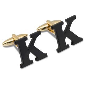 Black And Gold Letter K Cufflinks