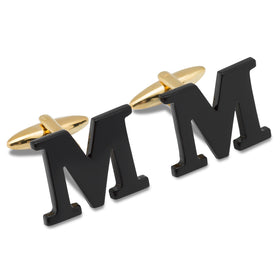 Black And Gold Letter M Cufflinks