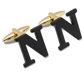 Black And Gold Letter N Cufflinks