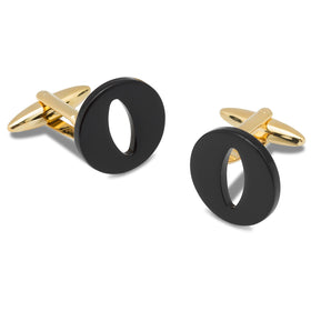 Black And Gold Letter O Cufflinks