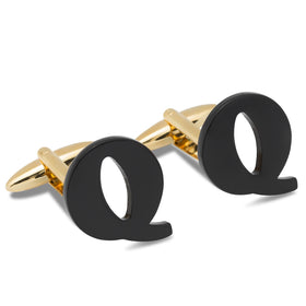 Black And Gold Letter Q Cufflinks