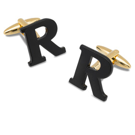 Black And Gold Letter R Cufflinks