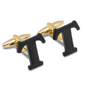 Black And Gold Letter T Cufflinks