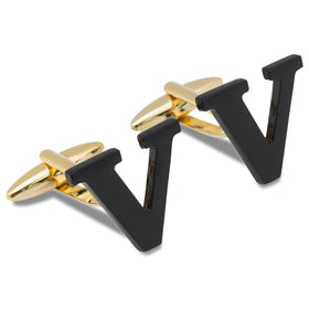 Black And Gold Letter V Cufflinks