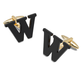 Black And Gold Letter W Cufflinks