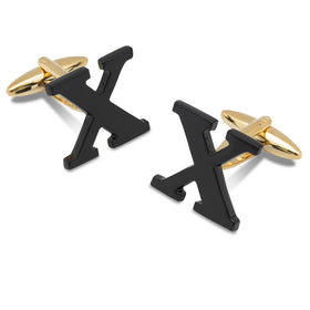 Black And Gold Letter X Cufflinks