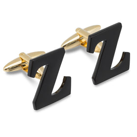 Black And Gold Letter Z Cufflinks