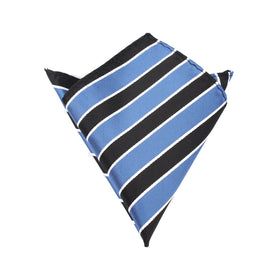Black Blue White Striped Pocket Square