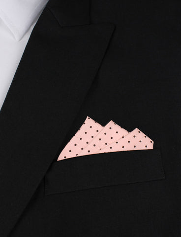 Black Caviar Pink with Black Mini Polka Dots Pocket Square