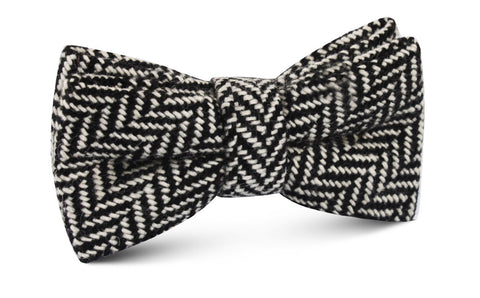 Black Chevron Wool Bow Tie