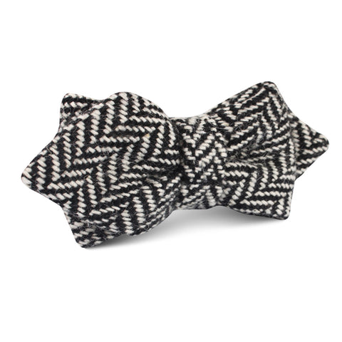 Black Chevron Wool Diamond Bow Tie