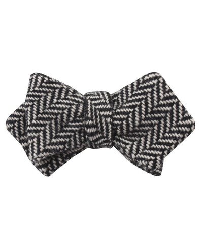 Black Chevron Wool Diamond Self Bow Tie