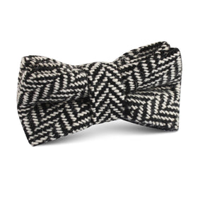 Black Chevron Wool Kids Bow Tie