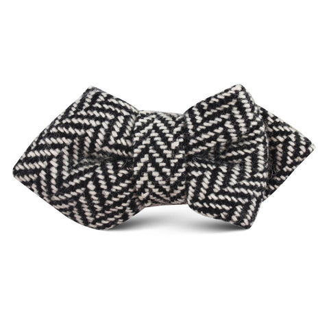 Black Chevron Wool Kids Diamond Bow Tie