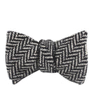Black Chevron Wool Self Tied Bowtie