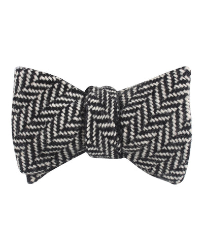 Black Chevron Wool Self Bow Tie