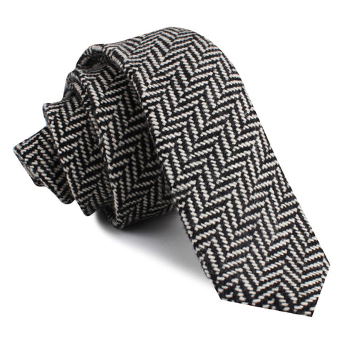 Black Chevron Wool Skinny Tie
