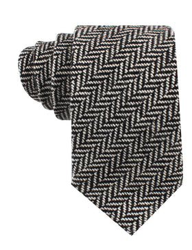 Black Chevron Wool Tie