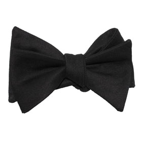 Black Cotton Self Tie Bow Tie