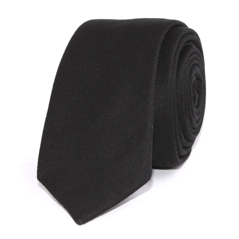 Black Cotton Skinny Tie