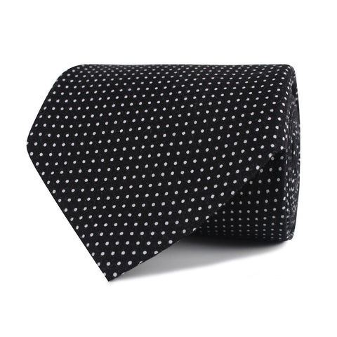 Black Cotton with White Mini Polka Dots Necktie