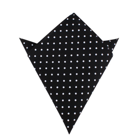 Black Cotton with Mini White Polka Dots Pocket Square