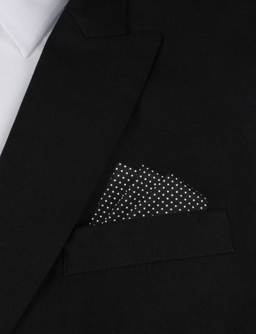 Black Cotton with White Mini Polka Dots Pocket Square