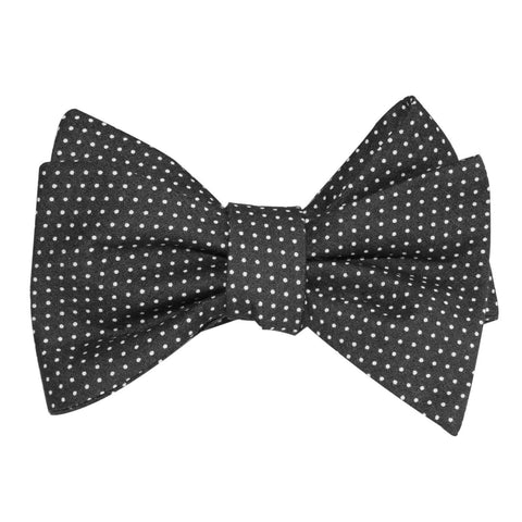Black Cotton with White Mini Polka Dots Self Tie Bow Tie