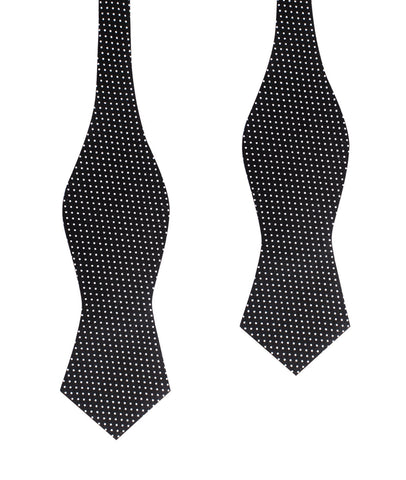 Black Cotton with White Mini Polka Dots Self Tie Diamond Tip Bow Tie