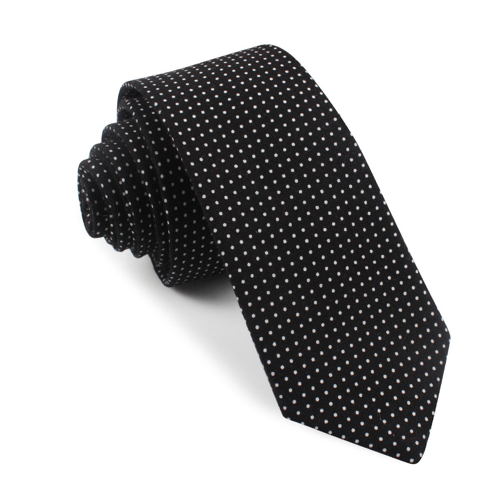 black cotton with white mini polka dots tie slim