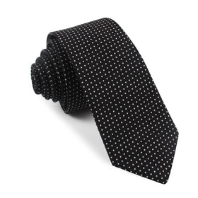 Black Cotton with White Mini Polka Dots Skinny Tie