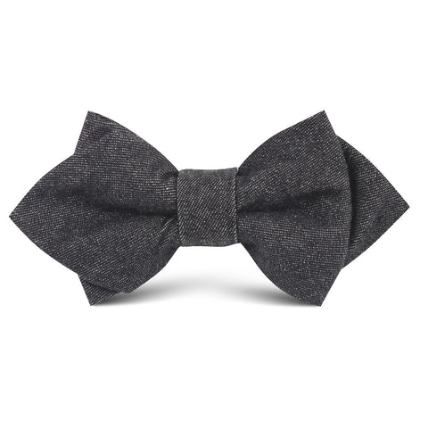 Black Denim Jeans Cotton Kids Diamond Bow Tie