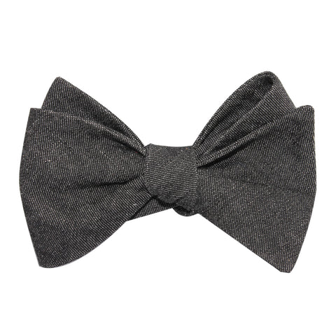 Black Denim Jeans Cotton Self Tie Bow Tie
