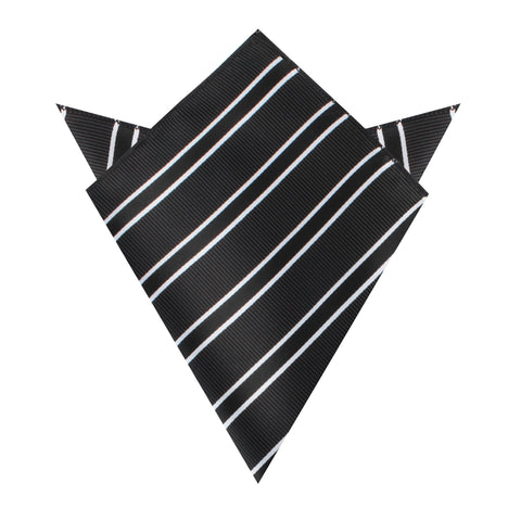 Black Double Stripe Pocket Square