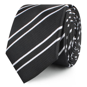 Black Double Stripe Skinny Tie