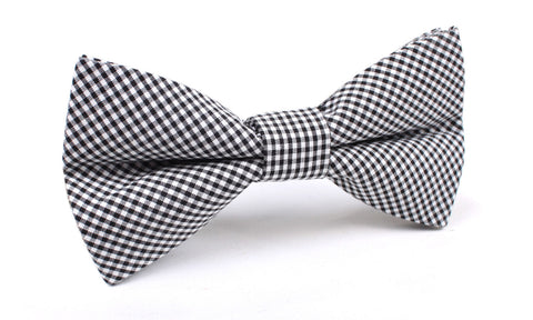 Black Gingham Cotton Bow Tie