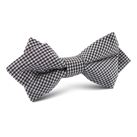 Black Gingham Cotton Diamond Bow Tie