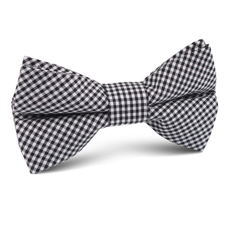 Black Gingham Cotton Kids Bow Tie