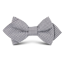 Black Gingham Cotton Kids Diamond Bow Tie