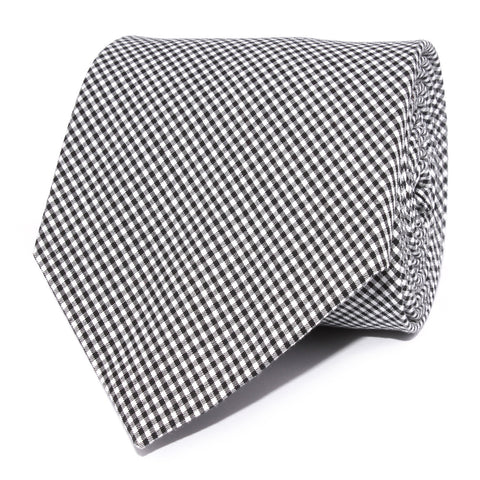 Black Gingham Cotton Necktie