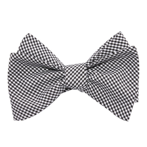 Black Gingham Cotton Self Tie Bow Tie