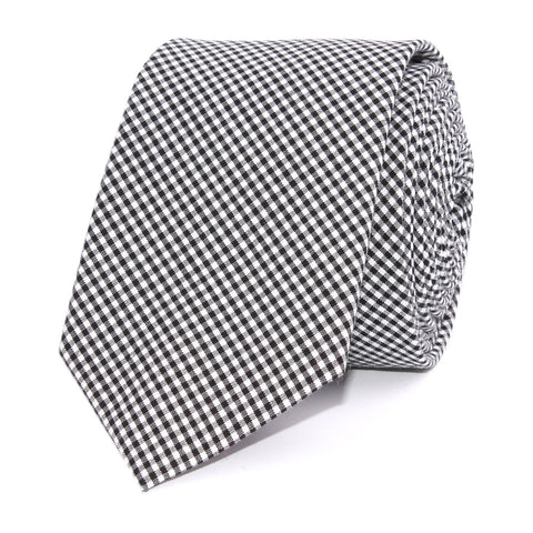 Black Gingham Cotton Skinny Tie